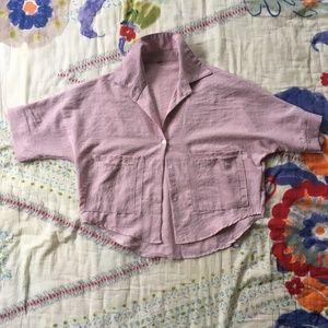 Zaful Pink Cropped Blouse, Size Small